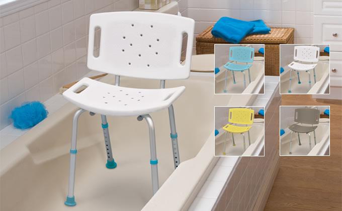 Siège de baignoire ajustable avec dossier, AquaSense®