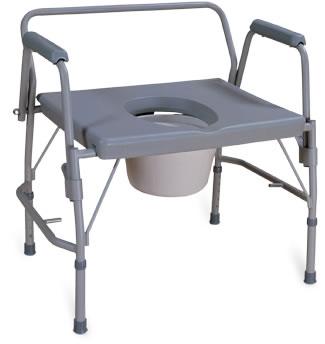 Chaise d'aisance bariatrique à appuis-bras rétractables